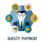 Safety Payment flat concept — Vector de stock