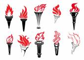 Set of burning torches — Vector de stock