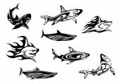 Fierce shark tattoo icons — Stock Vector