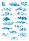 Blue breaking ocean waves — Stock Vector