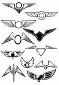 Heraldic emblems set — Stok Vektör