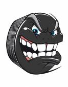 Hockey puck with an evil toothy grin — Stock Vector