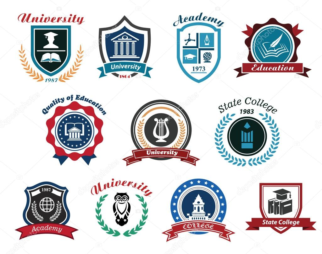 university academy and college emblems or logos set
