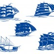 Medieval sailing ships icons — Stock Vector #57651769
