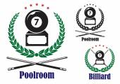 Billiard or pool badges or emblems — Stock Vector