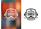 The Premium Barber welcome sign — Stock Vector
