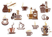 Various coffee icons — Stock Vector