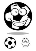 Happy football or soccer ball with a goofy smile — Stock Vector