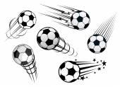 Speeding footballs or soccer balls — Stock Vector