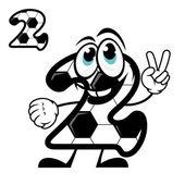 Cute number 2 with a hexagonal soccer pattern — Vecteur