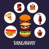 Takeaway food flat poster design — Stock Vector