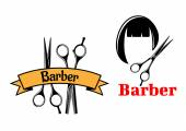 Barber icons and emblems — Stock Vector