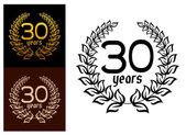 30 Years anniversary wreaths — Wektor stockowy