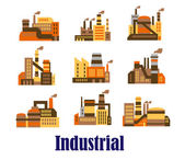 Flat industrial icons of plants and factories — Stock Vector
