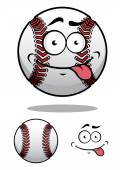Cartoon baseball ball with a cheeky grin — Stock Vector