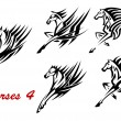 Galloping horses icons or tattoos — Stock Vector #58182933