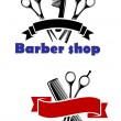 Barber Shop signs with blank banners — Stock Vector #58183041