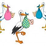 Cute cartoon storks carrying babies — Stock Vector #58183129