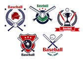 Colored Baseball emblems and badges — Stock Vector