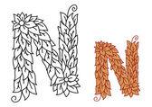 Alphabet letter N in organic leaves font — Stock Vector