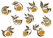 Organic herbal tea icons — Stock Vector