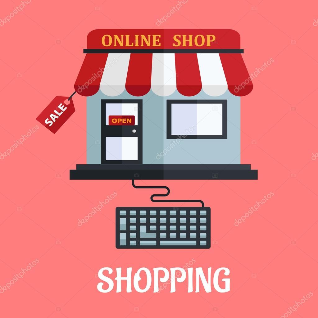 Online shopping flat design stock vector seamartini for Design scandinavo shop online