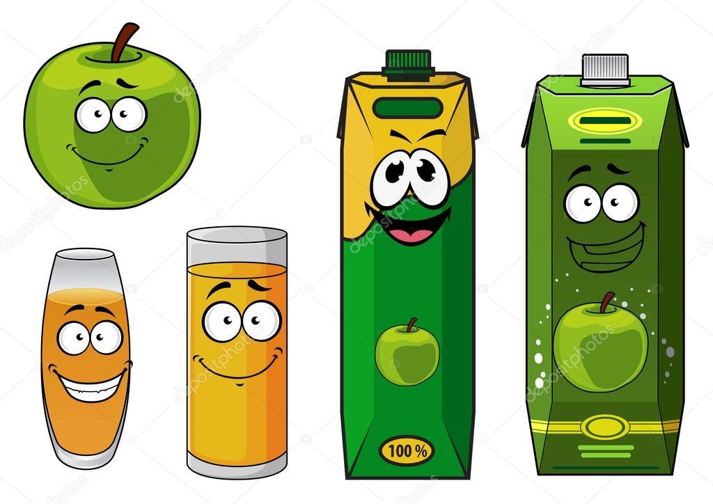 Green Juice Cartoon Green Happy Cartoon Apple