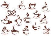 Doodle sketch set of steaming hot beverages — Stock Vector