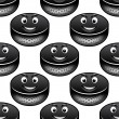 Smiling hockey pucks seamless pattern — Stock Vector #58758835