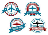 Airplane tours and adventures badges — Stock Vector