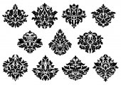 Damask floral design elements — Vecteur
