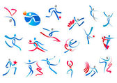 Sportive and dancing people icons — ストックベクタ