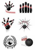 Bowling sports emblems and symbols — Stock Vector
