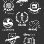 White handicraft icons on black — Stock Vector #59236763