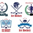 Ice Hockey sporting heraldic emblems and symbols — Stock Vector #59236791