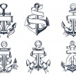 Marine themed ships anchor icons with ribbons — Stockvector  #59236803