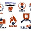 Basketball  game emblems and banners — Stock Vector #59236877