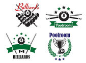 Billiards or Poolroom game badges or emblems — Stock Vector