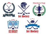 Ice Hockey sporting heraldic emblems and symbols — Stock Vector