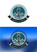 Nautical badges with ships anchors — Stock Vector