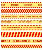 Warning, danger and caution tapes or ribbons — Vecteur
