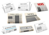 Newspaper icons isolated on white — ストックベクタ