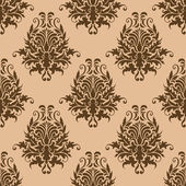 Brown pretty damask style seamless pattern — Stock Vector