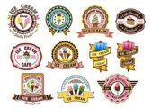 Colorful ice cream emblems or badges — Stock Vector