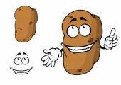 Happy goofy cartoon potato character — Stock Vector