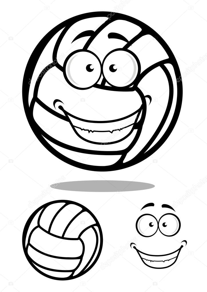 Cartoon Happy Face Black And White Happy Cartoon Volleyball Ball Character With a Smiling Face in a Black And