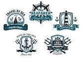 Nautival various heraldic designs — Stock Vector