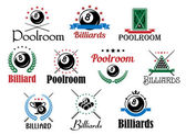 Billiard game emblems and symbols set — Stock Vector