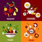 Colored fresh healty food flat design — Stock Vector