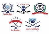 Símbolos e emblemas heráldicas de hóquei no gelo — Vetor de Stock